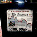 Newspaper cover story about the stock market crash